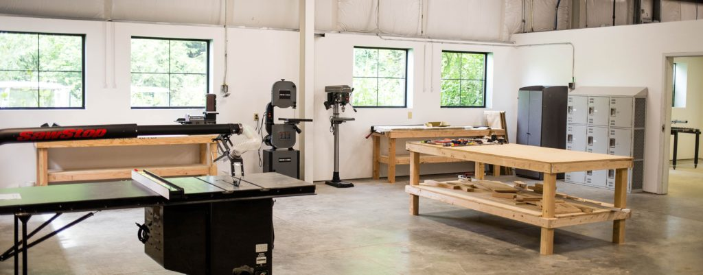 part of the interior of the lacey makerspace showing several of the work areas and equipment available